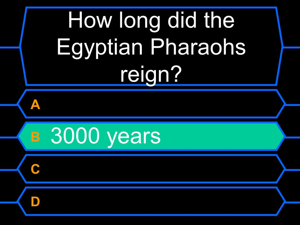 How long did the Egyptian Pharaohs reign? A 2000 years B 3000 years C 4000 years D 5000 years