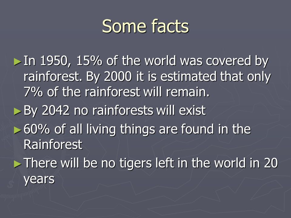 Some facts In 1950, 15% of the world was covered by rainforest. By 2000 it is estimated that only 7% of the rainforest will remain. In 1950, 15% of th