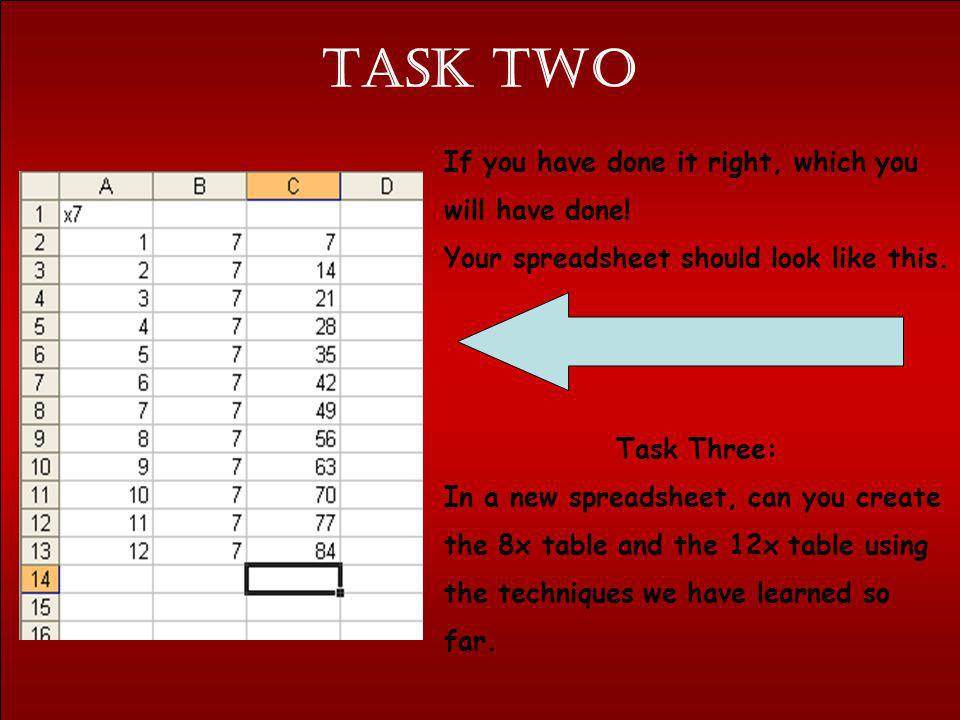 Task TWO If you have done it right, which you will have done! Your spreadsheet should look like this. Task Three: In a new spreadsheet, can you create
