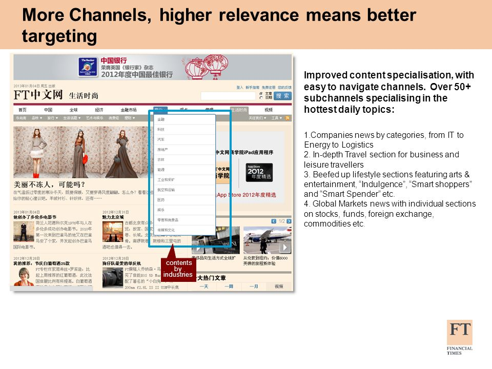 Improved content specialisation, with easy to navigate channels. Over 50+ subchannels specialising in the hottest daily topics: 1.Companies news by ca