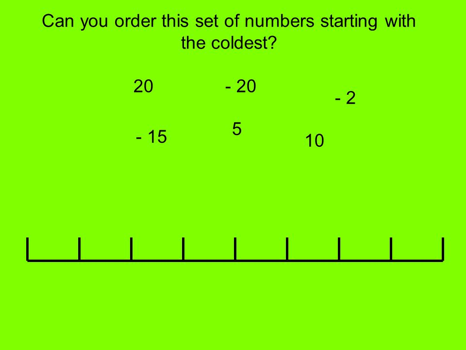 Can you order this set of numbers starting with the coldest? 20 5 - 2 - 15 10 - 20