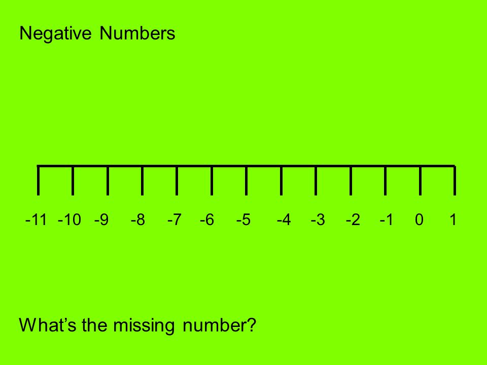 Negative Numbers -4-3-201-6-7-8-9-10-11 -5 Whats the missing number?
