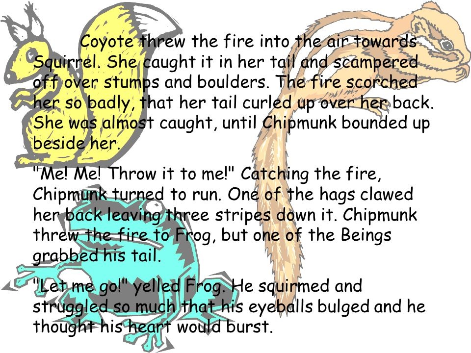 Coyote threw the fire into the air towards Squirrel. She caught it in her tail and scampered off over stumps and boulders. The fire scorched her so ba