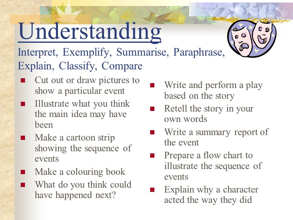 Understanding Interpret, Exemplify, Summarise, Paraphrase, Explain, Classify, Compare Cut out or draw pictures to show a particular event Illustrate w