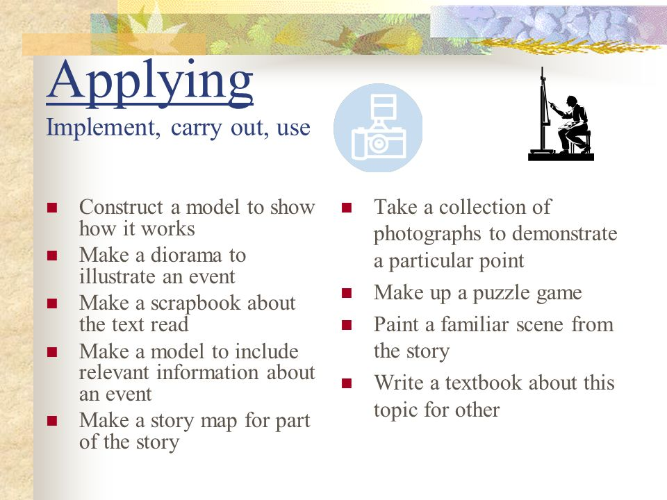Applying Implement, carry out, use Construct a model to show how it works Make a diorama to illustrate an event Make a scrapbook about the text read M