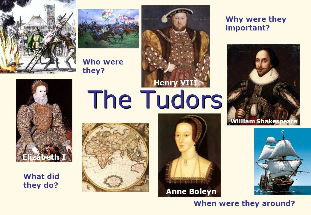 The Tudors Who were they? What did they do? When were they around? Why were they important? Anne Boleyn William Shakespeare Henry VIII Elizabeth I