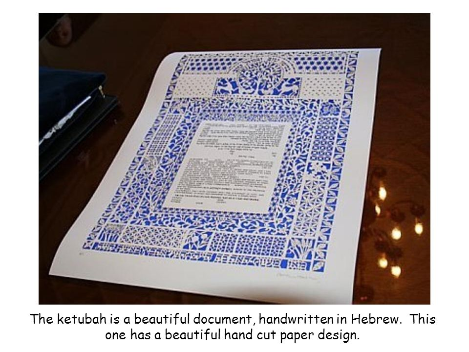 The ketubah is a beautiful document, handwritten in Hebrew.