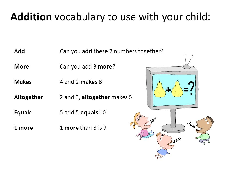 Addition vocabulary to use with your child: AddCan you add these 2 numbers together.