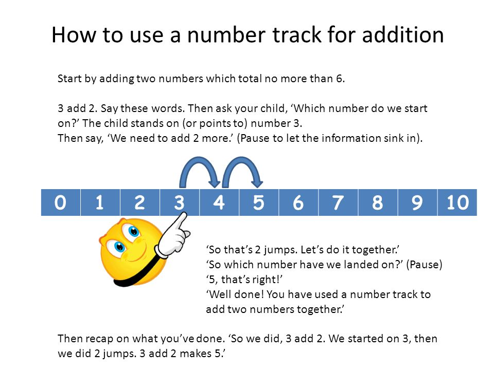 How to use a number track for addition Start by adding two numbers which total no more than 6.