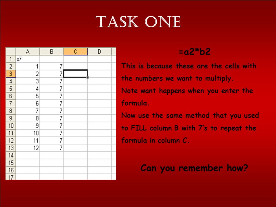 Task one Open a new page in Microsoft Excel. 1.Enter this data as shown in the right cells.