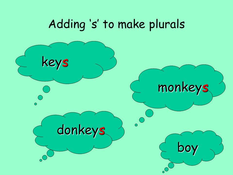 Adding s to make plurals keys monkeys donkeys boy