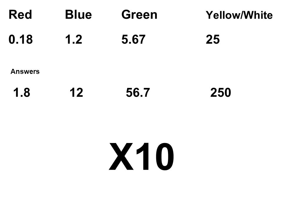 Red Blue Green Yellow/White X Answers