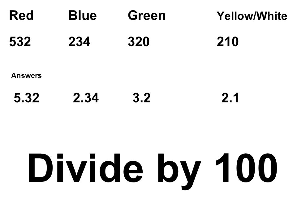 Red Blue Green Yellow/White Divide by Answers