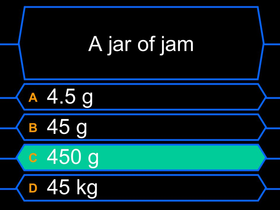 A jar of jam A 4.5 g B 45 g C 450 g D 45 kg