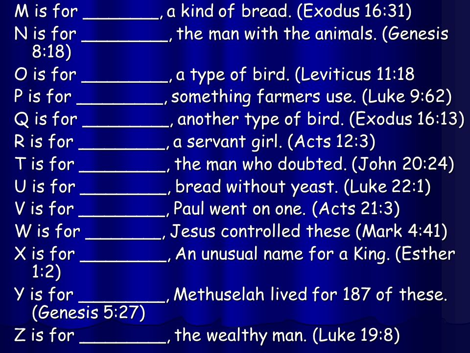 M is for _______, a kind of bread. (Exodus 16:31) N is for ________, the man with the animals. (Genesis 8:18) O is for ________, a type of bird. (Levi