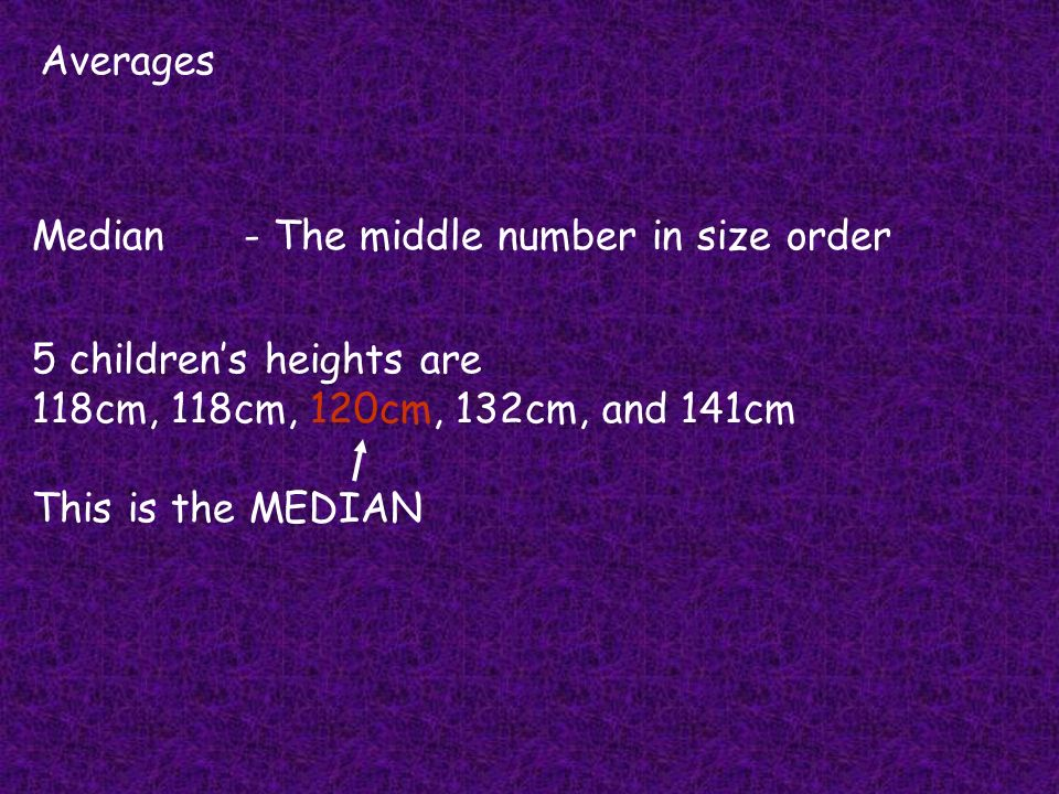 Averages Median- The middle number in size order 5 childrens heights are 118cm, 118cm, 120cm, 132cm, and 141cm This is the MEDIAN