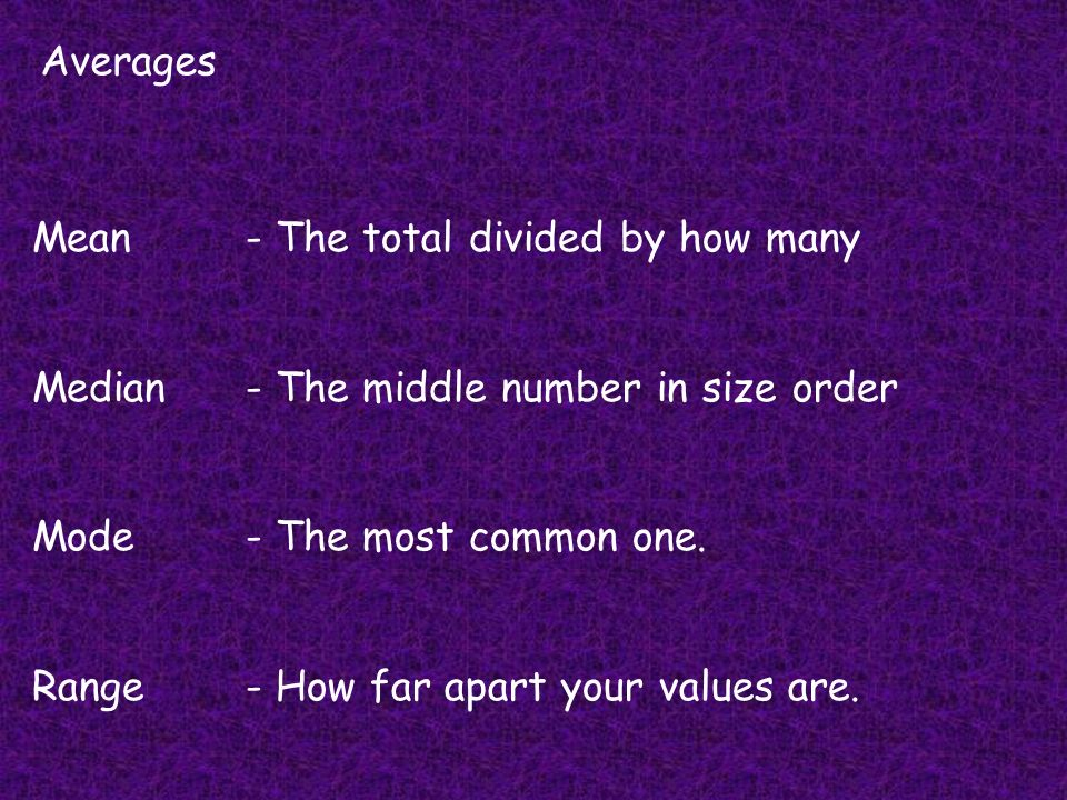 Averages Mean- The total divided by how many Median- The middle number in size order Mode- The most common one. Range- How far apart your values are.