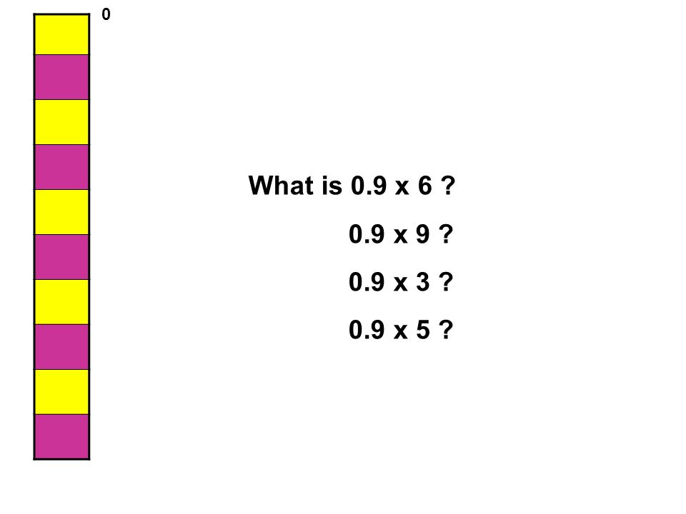 What is 0.9 x 6 ? 0.9 x 9 ? 0.9 x 3 ? 0.9 x 5 ? 0