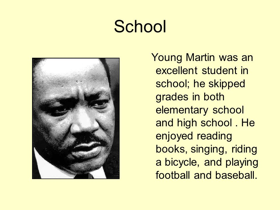 Racism Martin experienced racism early in life.