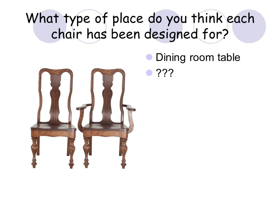 What type of place do you think each chair has been designed for? Dining room table ???