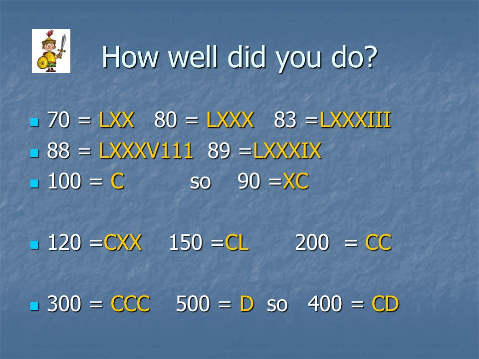 How well did you do? 70 = LXX 80 = LXXX 83 =LXXXIII 70 = LXX 80 = LXXX 83 =LXXXIII 88 = LXXXV111 89 =LXXXIX 88 = LXXXV111 89 =LXXXIX 100 = C so 90 =XC