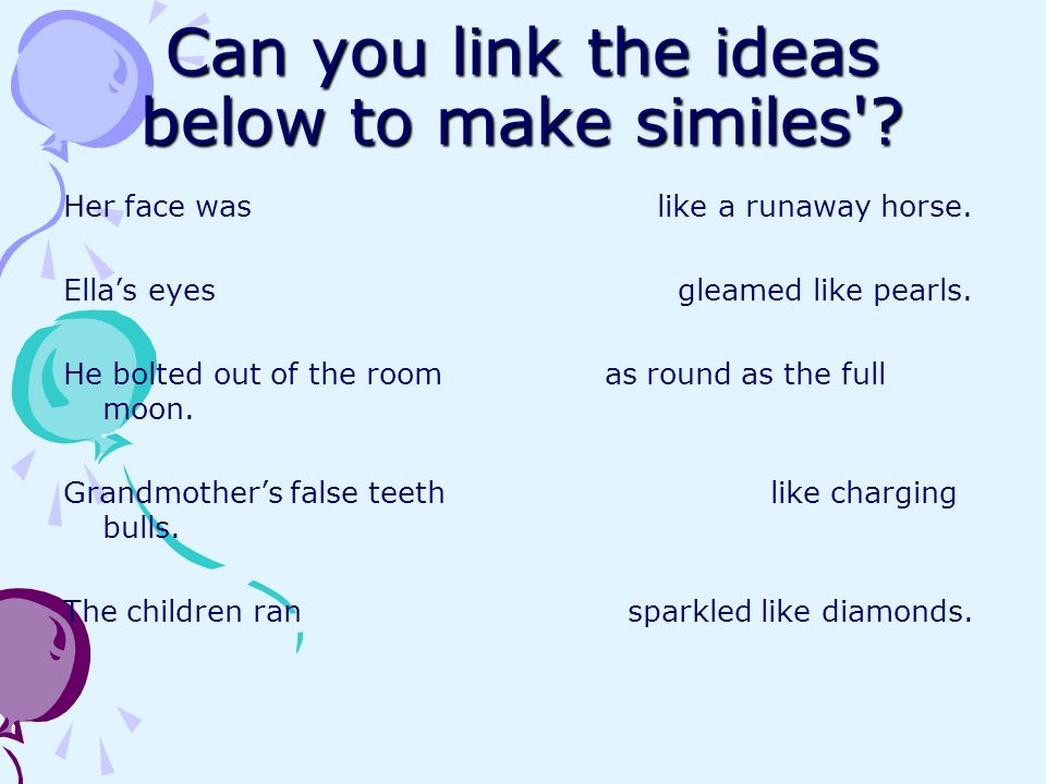 Similes and Metaphors Word pictures which make descriptions more vivid and colourful.