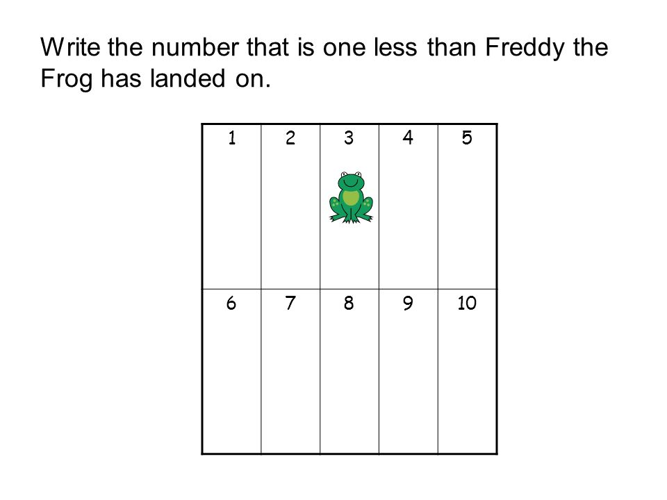 Write the number that is one less than Freddy the Frog has landed on. 12345 678910