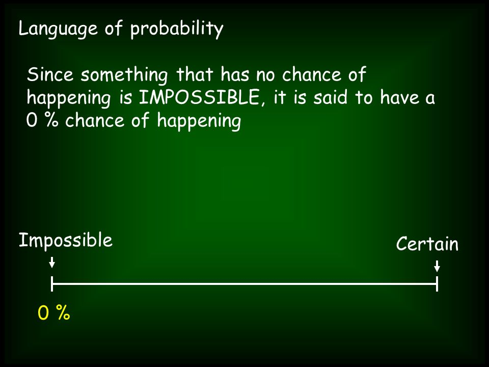 Language of probability Since something that has no chance of happening is IMPOSSIBLE, it is said to have a 0 % chance of happening Impossible Certain