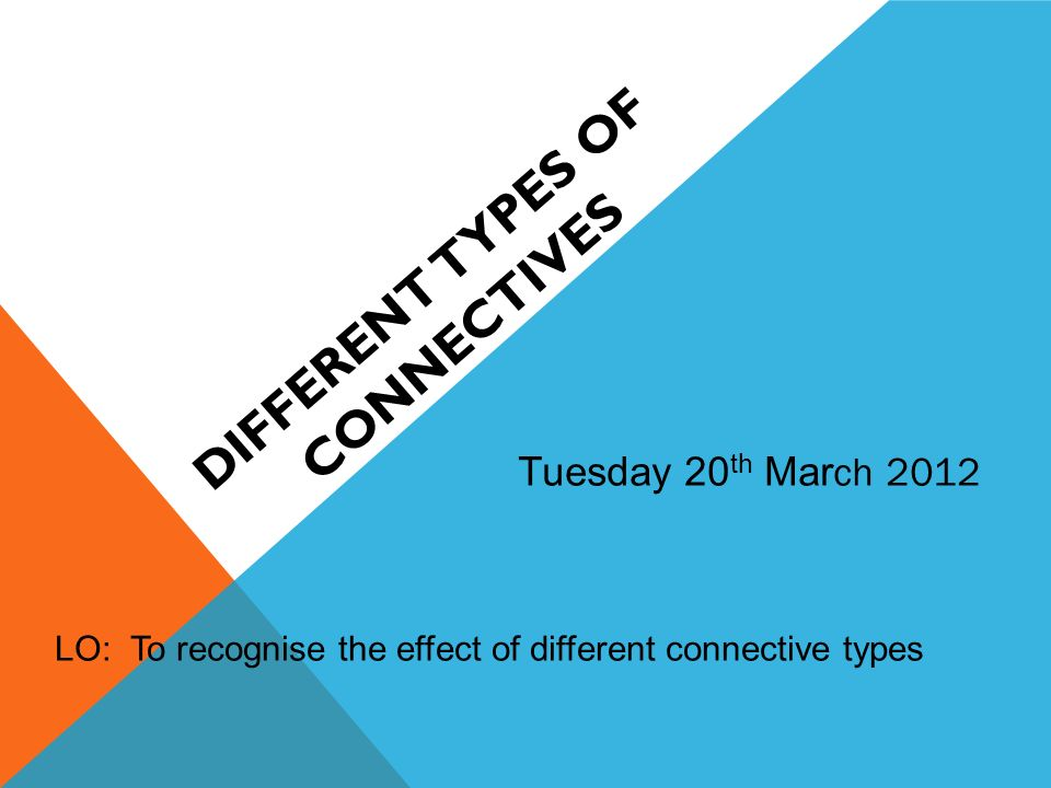 DIFFERENT TYPES OF CONNECTIVES Tuesday 20 th Mar ch 2012 LO: To recognise the effect of different connective types