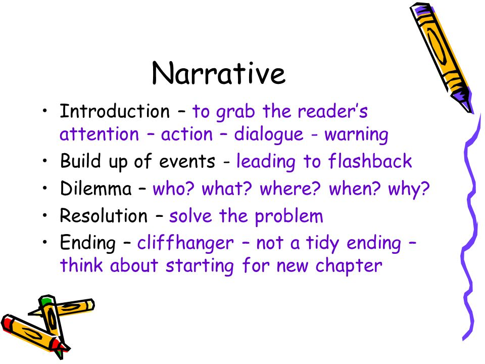 Narrative Introduction – to grab the readers attention – action – dialogue - warning Build up of events - leading to flashback Dilemma – who.