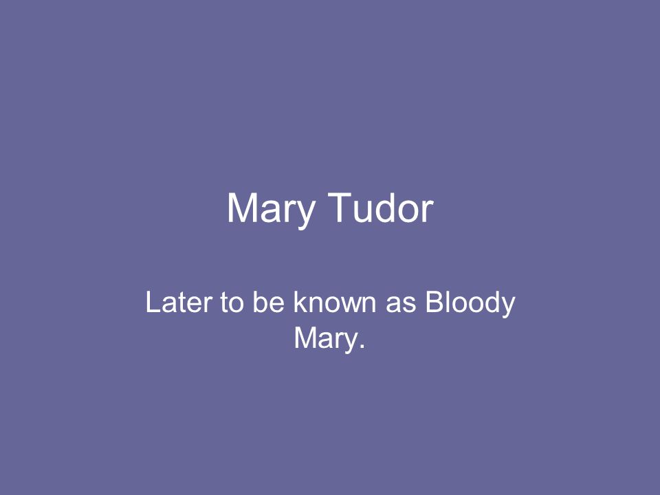 Mary Tudor Later to be known as Bloody Mary.