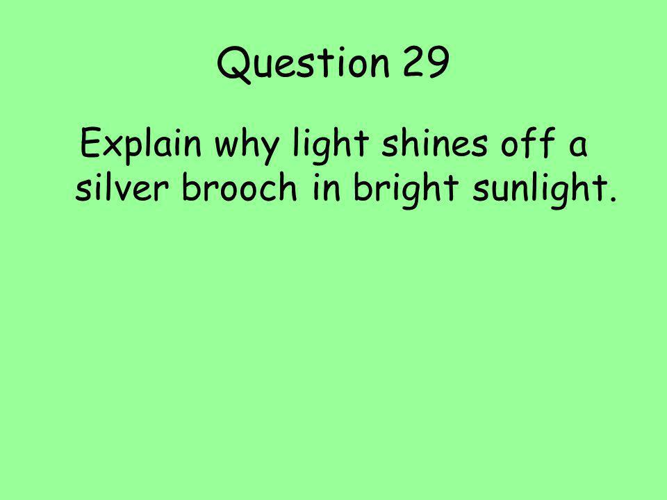 Question 29 Explain why light shines off a silver brooch in bright sunlight.