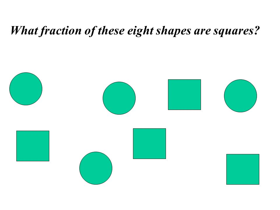 What fraction of these eight shapes are squares?