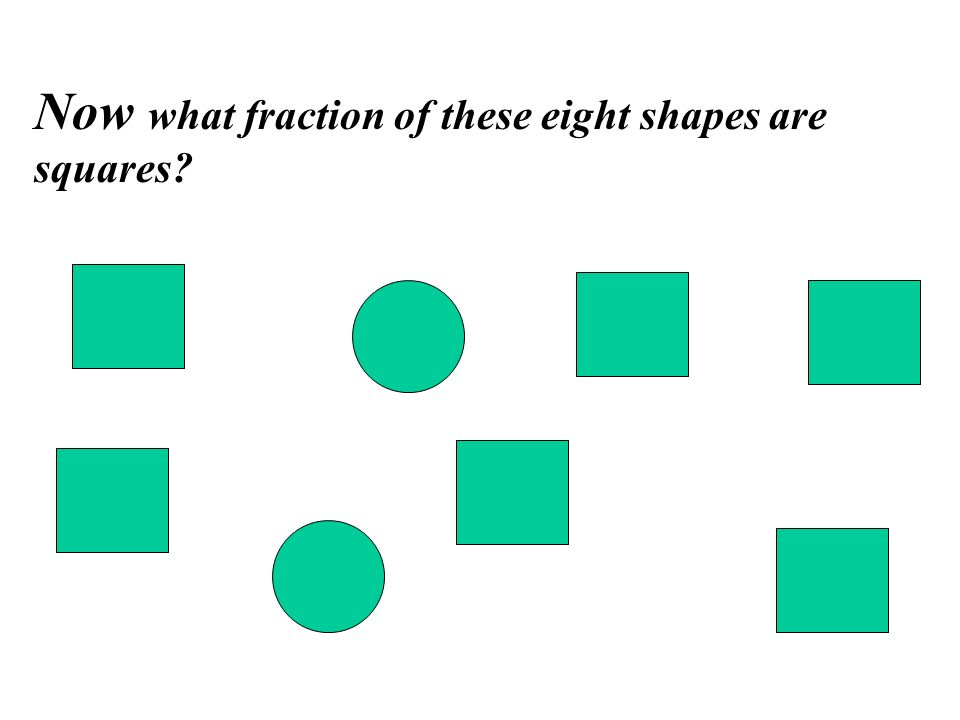 Now what fraction of these eight shapes are squares?