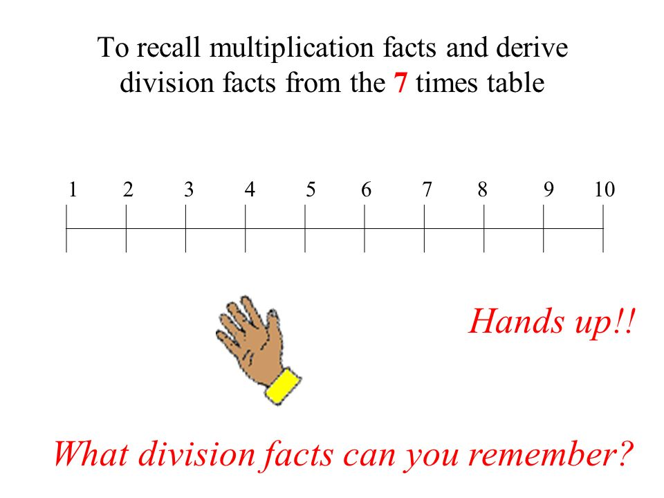 To recall multiplication facts and derive division facts from the 7 times table 1 2 3 4 5 6 7 8 9 10 Hands up!.