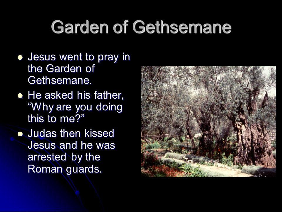 Garden of Gethsemane Jesus went to pray in the Garden of Gethsemane. Jesus went to pray in the Garden of Gethsemane. He asked his father, Why are you