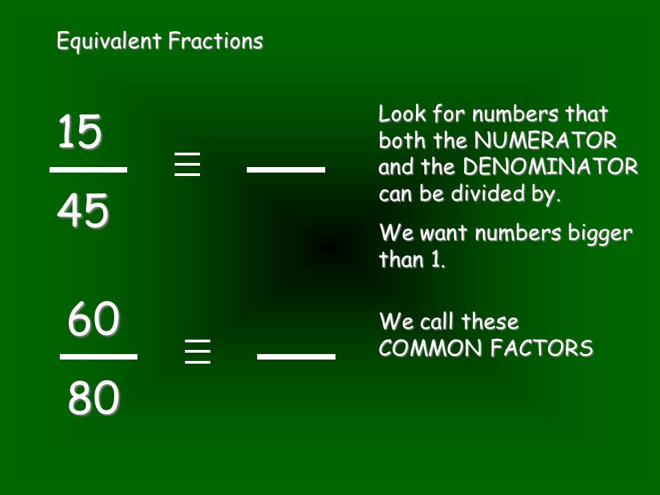 Equivalent Fractions 1545 6080 Look for numbers that both the NUMERATOR and the DENOMINATOR can be divided by. We want numbers bigger than 1. We call