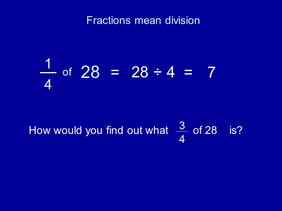 1 4 of 28 =28 ÷ 4=7 How would you find out what of 28 is? 3 4