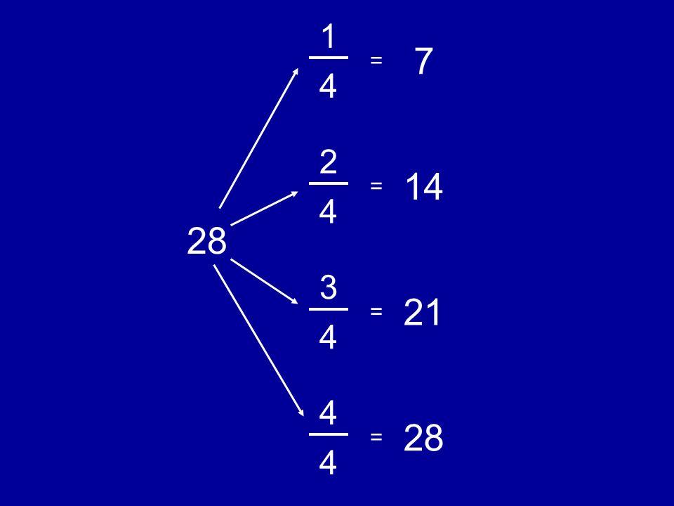 1 4 7 2 4 14 3 4 21 4 4 28 = = = =