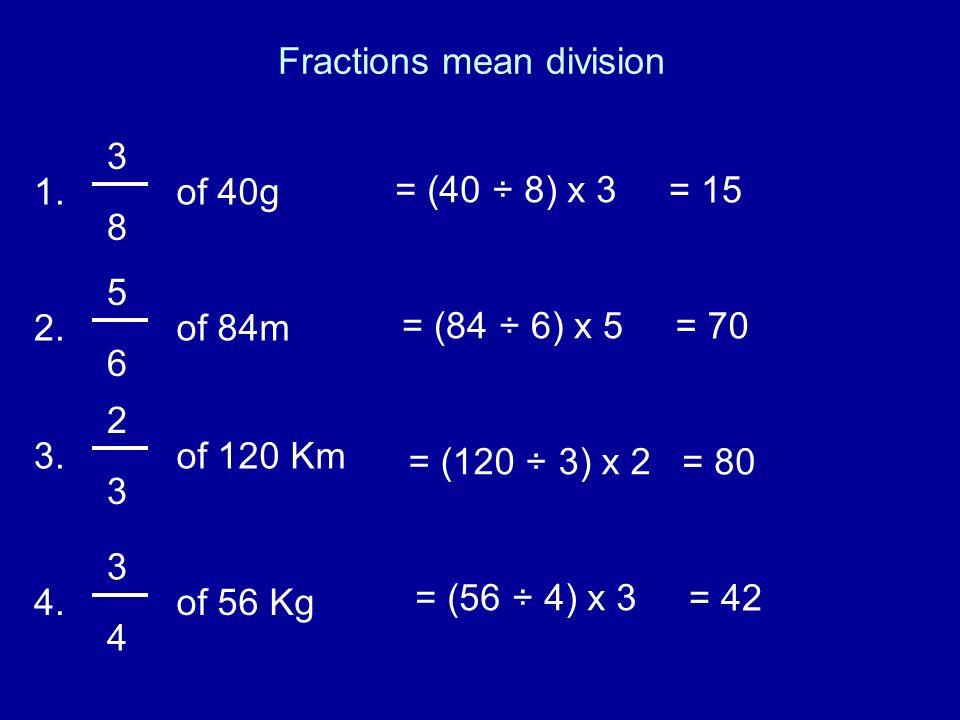 Fractions mean division 3 8 of 40g1. 5 6 of 84m2. 2 3 of 120 Km3. 3 4 of 56 Kg4. = (40 ÷ 8) x 3 = 15 = (84 ÷ 6) x 5 = 70 = (120 ÷ 3) x 2 = 80 = (56 ÷