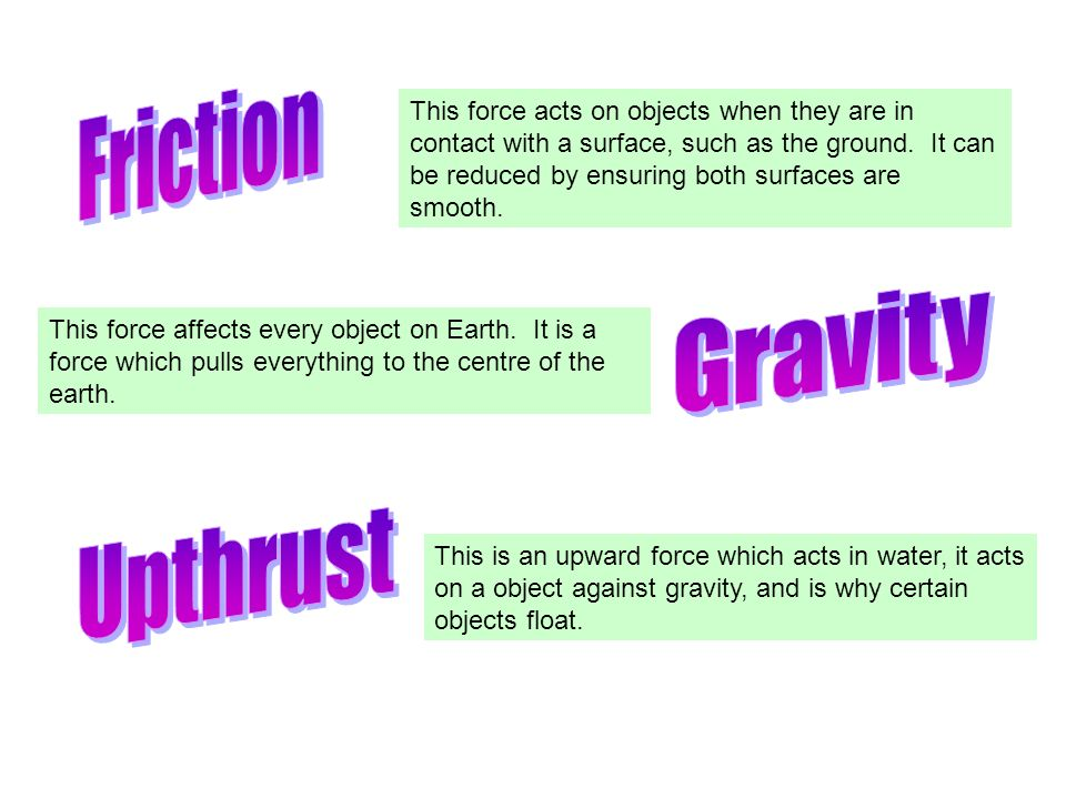 This force acts on objects when they are in contact with a surface, such as the ground. It can be reduced by ensuring both surfaces are smooth. This f