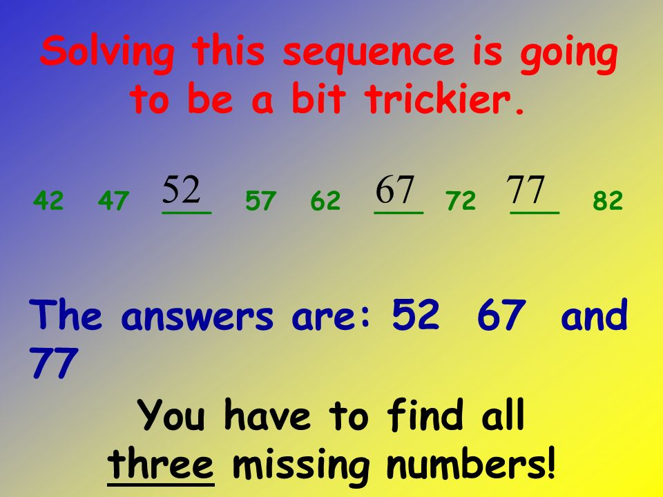 34 44 54 64 ___ 84 94 Now race on to the last number sequence.
