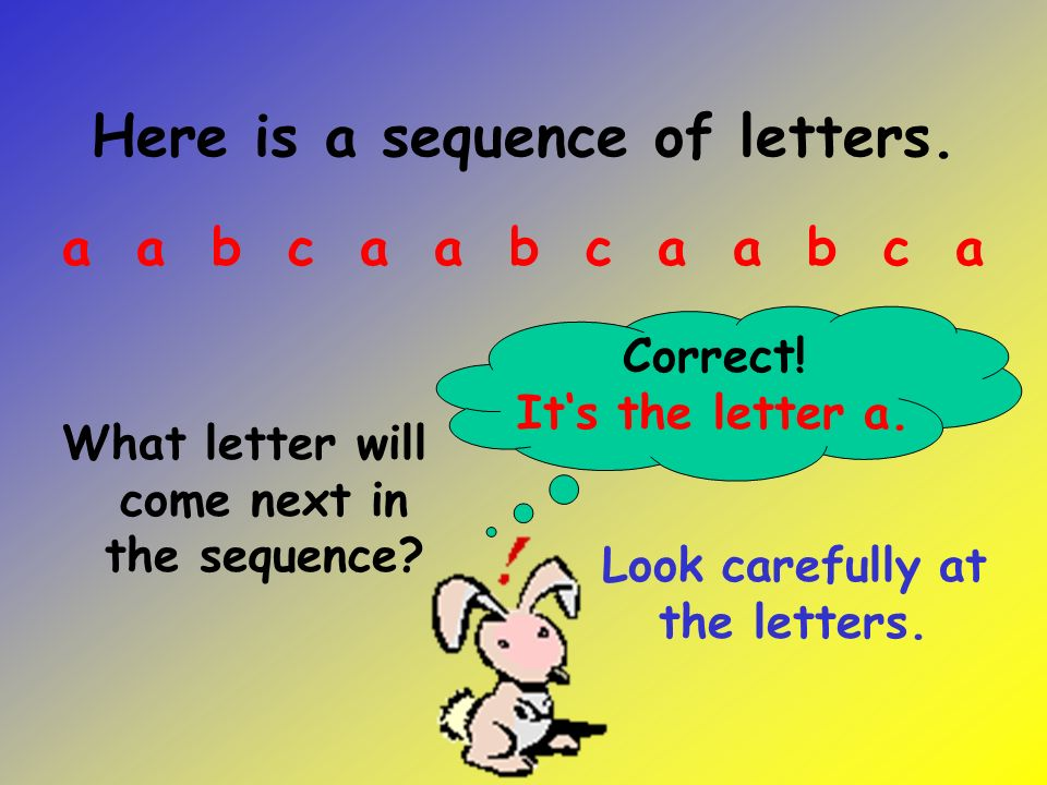 Here is a sequence of letters.What letter will come next in the sequence.