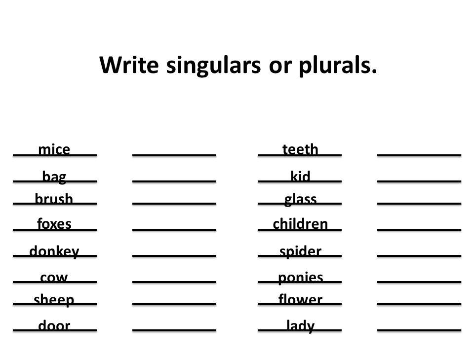 Write singulars or plurals. mice bag brush foxes donkey cow sheep door teeth kid glass children spider ponies flower lady
