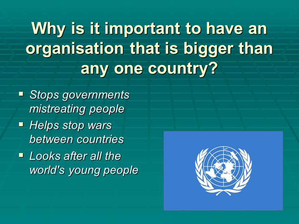 Why is it important to have an organisation that is bigger than any one country? Stops governments mistreating people Stops governments mistreating pe