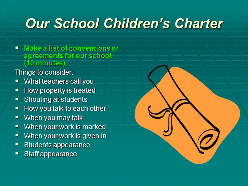 Our School Childrens Charter Make a list of conventions or agreements for our school (10 minutes) Make a list of conventions or agreements for our sch