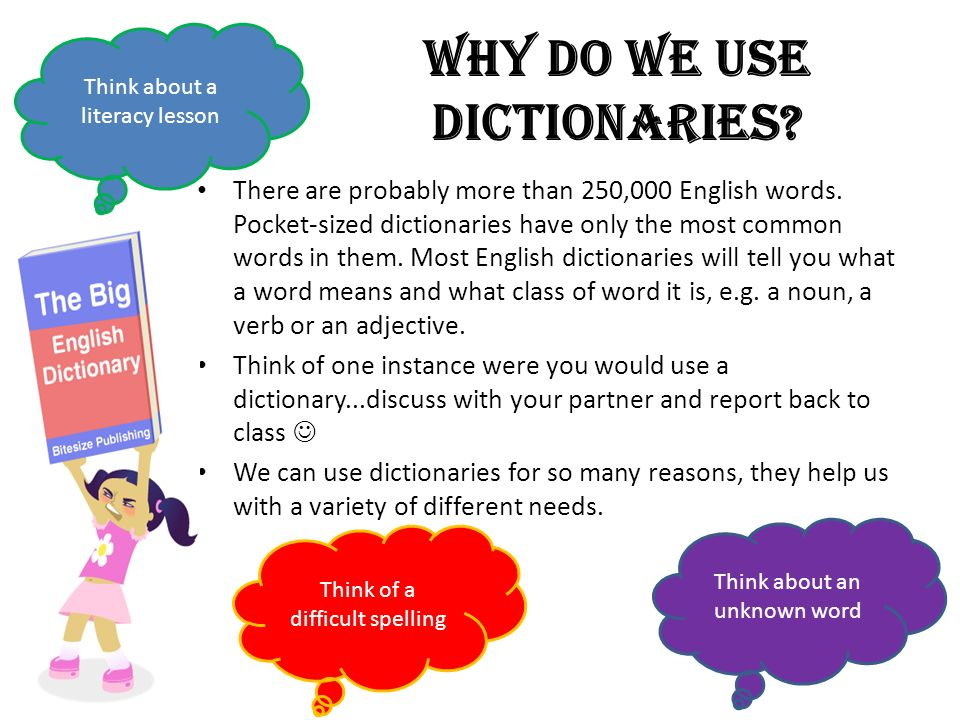 Why do we use dictionaries? There are probably more than 250,000 English words. Pocket-sized dictionaries have only the most common words in them. Mos