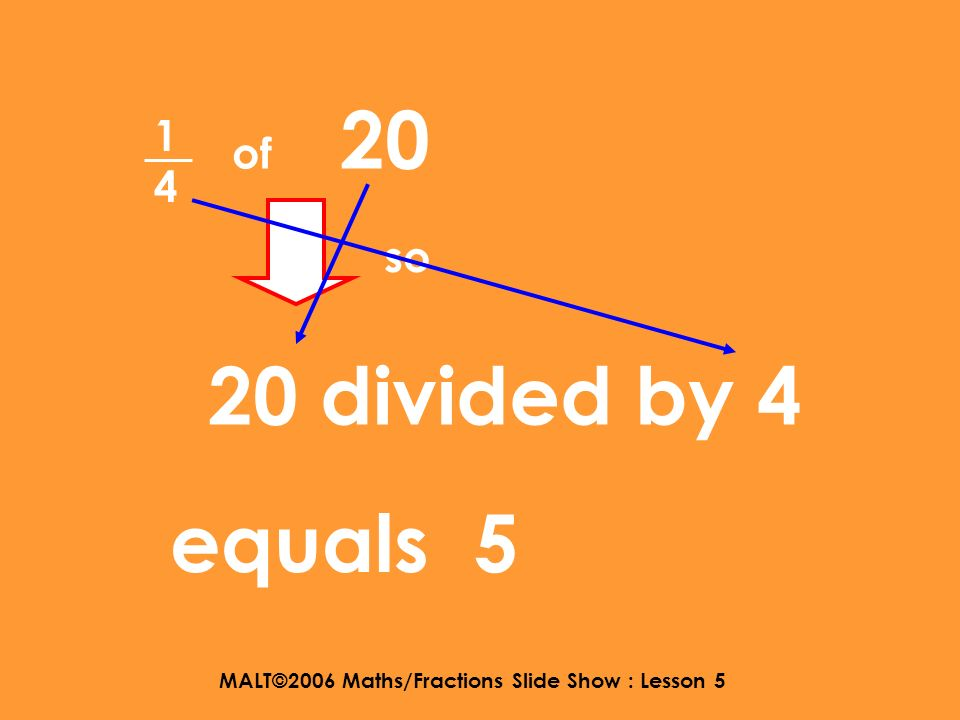 MALT©2006 Maths/Fractions Slide Show : Lesson 5 WALT : find calculate a fraction of a whole number Example : To find of 20 1414