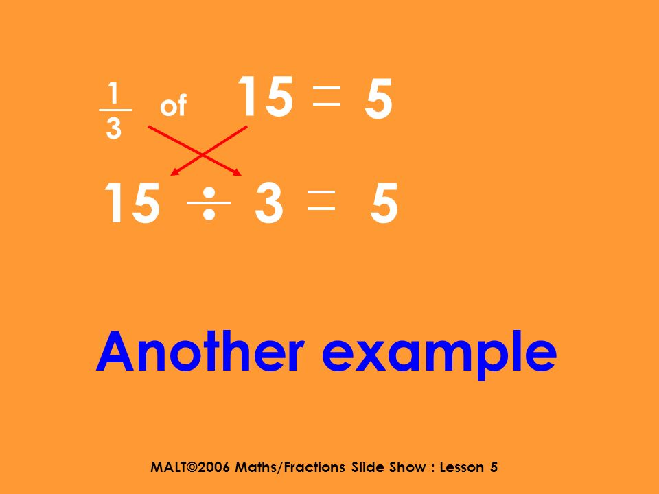 MALT©2006 Maths/Fractions Slide Show : Lesson 5 1414 of 20 20 4 5 5 Hmmm….. But you dont Always have to write down This step.
