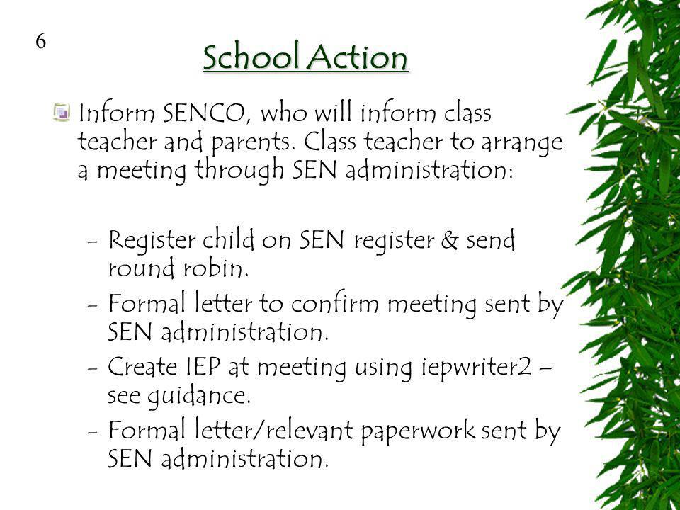 Initial Entitlement of SEN Form and subject teacher responsible.